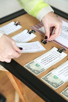 Great chore chart idea!  Attach money right to the chore card clips.  That's motivating!