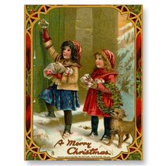 Vintage Christmas Postcard  Beautiful Victorian Christmas postcards! Look for matching postage! All images lovingly restored for best printing quality! Easy to customize!