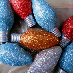 Old light bulbs, Elmer's glue and glitter!