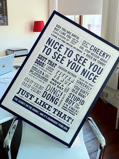 """...one-color screen print inspired by well-known quotes from comedians of the last 30 years."""