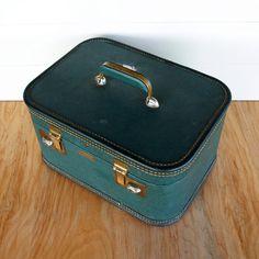 AWESOME OVERNIGHT BAG // Old Train Case // Large Vintage Train Case Suitcase // Vintage Train Cases // Carrying Case // Luggage Travel Case. $24.00, via Etsy.