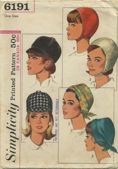Vintage Hat Sewing Pattern | Simplicity 6191 | Year 1965 | One Size | Jockey Hat, Soft Hat, Helmet Hat