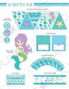 Mermaid party printables, so cute! :)
