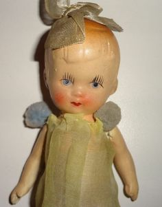 "Sweet German Germany Antique 5"" Bisque Doll w Painted Features and Orig Outfit 