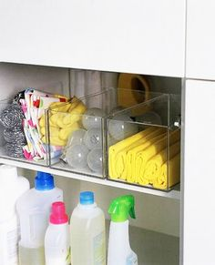 love the acrylic boxes - great organizer for bathroom cabinets and laundry cabinets