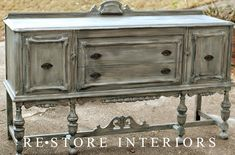 DIY:  Buffet Makeover - paint & glaze were applied to this buffet to give it an updated look & to hide the damaged finish & missing veneer.