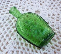 Vintage Miniature Green Wheaton Benjamin Franklin Bitters Bottle.via Etsy.