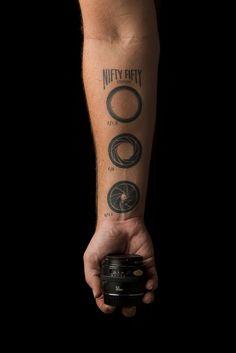 tattoo idea, photography tattoo, tattoos, camera lens, nifti fifti