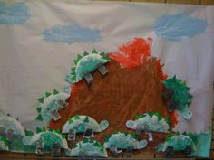 paper plate dinosaurs and volcano