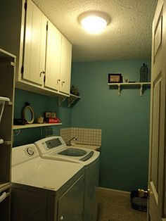 Lovely Laundry Room makeover, including the Ana White Laundry Dresser baskets.