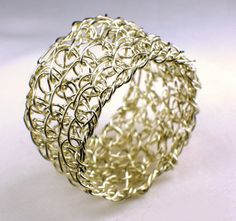 Beautiful Ring Entirely Handmade with Sterling Silver Wire in Crochet Technique