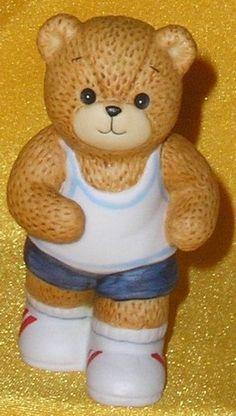 Porcelain Enesco Lucy Rigg & Me Exercising Jogger Boy Teddy Bear Figurine 1984