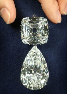 Discovered in South Africa, the Cullinan is the largest diamond ever found. Ultimately it was cut into more than 100 smaller pieces, nine of which belong to the British royal family. At left is a brooch made out of Cullinan III and IV. The pear-shaped diamond is 94.4 carats, while the cushion-shaped one is 63.6 carats.