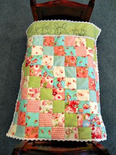hand embroidered doll quilt