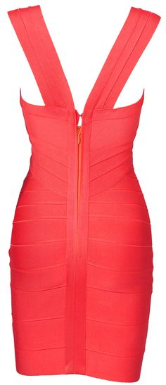 'Kirsty' Coral Cross Over Body Con Dress - SALE