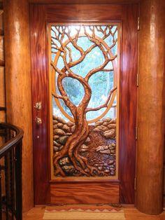 Custom log home door