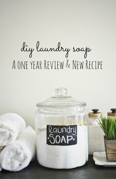 DIY laundry soap- an updated recipe & a full review after using it for a year.