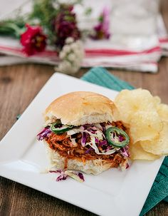 Slow Cooker Barbecue Chicken Sandwich (with Spicy Slaw)