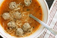 Meatball and Spaghetti Soup - What can be more kid friendly than a bowl of soup with spaghetti and meatballs?