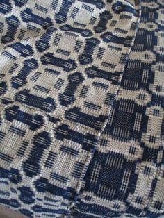 Antique Overshot Woven Coverlet Dark Indigo Blue by AStringorTwo