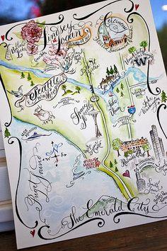 Illustrated Seattle Wedding Map draw, invitations, washington state, maps, scavenger hunts, map idea, wedding events, travel, beauty