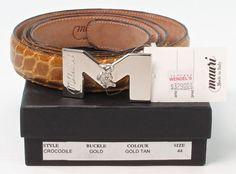 Men's MAURI ALLIGATOR TAN BELT size 44 chrome BUCKLE Made In Italy #Mauri