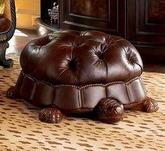 sea turtle leather foot stool