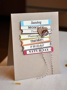 Saturday to Sunday Love Card by Maile Belles using Jillibean Soup's Days of the Week Soup Labels, corrugated sheet, and brown baker's twine (via the Jillibean Soup blog).