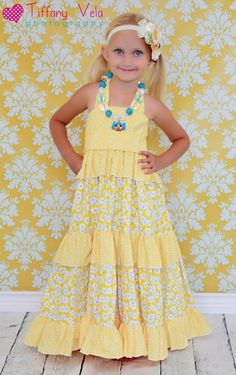 fairytale frocks and lollipops :: create kids couture, julia's twirly maxi dress, girl, baby, infant, toddler,photo, sewing, summer, spring, fall, special occasion, formal, wedding, party, birthday, twirly, long, elastic, shirring, tiered, tiers, boutiqu