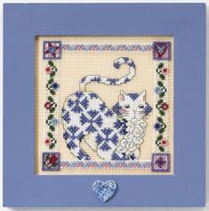 Sapphire Quilted Cat - Cross Stitch Kit Completed