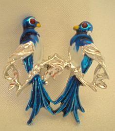 Two perched bluebirds brooch by Ladysprettys on Etsy, $6.99