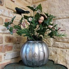 Faux Pewter Pumpkin Centerpiece #TYP entry in #plaidcrafts 4th Annual Trick Your Pumpkin Halloween craft contest! www.TrickYourPumpkin.com