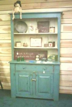 Step Back Hutch in Plymouth Blue and Buttermilk.
