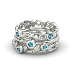 Blue Topaz + 14K White Gold Ring