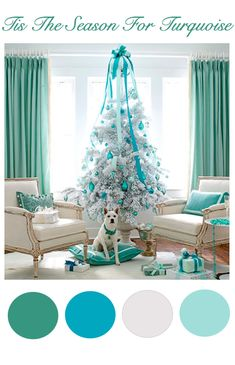 Turquoise Christmas.  My kids would never go for this, BUT..... if you threw in some red pillows to go with the turquoise stuff ..... YESS !!!!!   sg