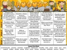 August and Summer Writing Prompt Calendar ~ An August writing calendar with 20 writing prompts. August Word Bank On The Bottom Of The Calendar~ Over 10 writing journal covers to choose from ~ Writer's checklist for students to remind children what to focus on while writing.~ A variety of August and Summer writing paper designs, each with two different line types. $