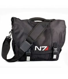 """Black Messenger Bag with embroidered N7 Logo. Ballistic nylon with reflective accents on outside, organizer pockets on inside, padded carrying handle and padded laptop sleeve that fits most 15"""" laptops. Dimensions: 12""""h x 16.25""""w x 5.75""""d"""