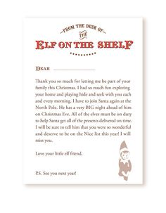 Serendipity Soiree: {Freebie} Your very own Goodbye Letter from the Elf on the Shelf