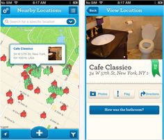 One of our fave apps for new moms: The Sit or Squat app has crowdsourced reviews on clean public restrooms!