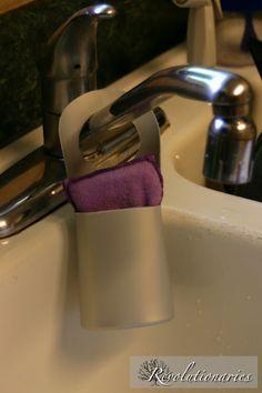 Recycled shampoo bottle sponge holder.