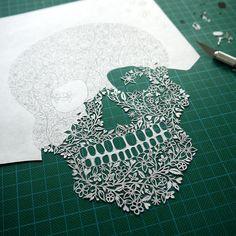 Sugar Skull papercut (wip) by Suzy Taylor