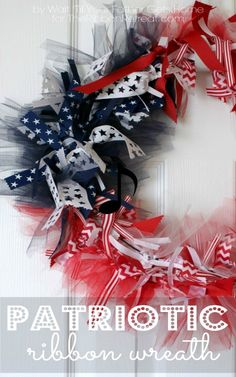Patriotic Ribbon and Tulle Wreath