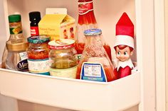 After finding Elf on the Shelf in the fridge, we thought he might get a little cold in there. Then we thought, well, I guess he is used to cold, North Pole - Mama Belly Blog
