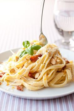 Fettuccine with Bacon, Almonds and Orange - Cooking Classy