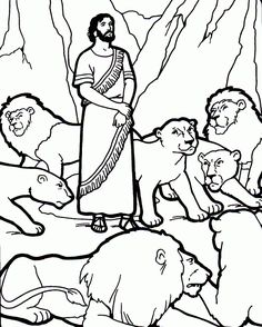 Daniel in the lion's den. Bible coloring pages