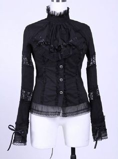 Gothic Lolita Victorian Aristocrat Removable Ruffle Lace Up Back Black Shirt