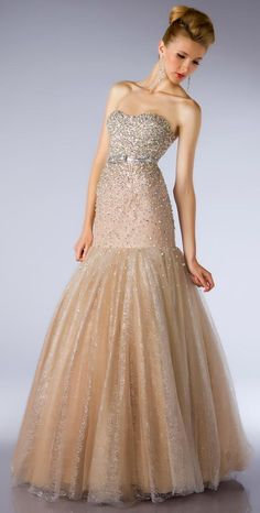 Hate the weird fit but love both fabrics Strapless Sweetheart Gown from Mac Duggal Ballgowns