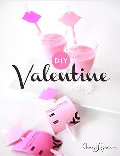 DIY Valentine's Card: Strawberry Milk Straw With Lips