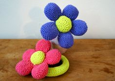 Flower Baby Rattles  Crocheted Cotton Baby Rattles One by LilyRazz, $17.50
