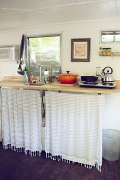 Tiny kitchen in a 1960's Shasta camper